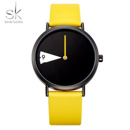 Discount top fashion montre - SHENGKE Top Brand Watches Leather Quartz Wristwatches Watch Women Fashion Luxury Creative Montre Femme Reloj Mujer