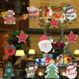 Discount windows packages - 20pcs box Christmas Wooden Labels Christmas Closet Window Wall Stickers Decor