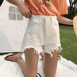 White Shorts Australia - Short female summer han edition tall waist broad-leg trousers loose show thin frill notch white jeans short student hot pants casu