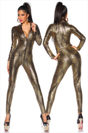 Discount wet look bodysuit - Jumpsuit Latex Catsuit Nightclub Costumes Bodysuit Fetish Sexy Linegerie Leather Game Uniforms Black Wet Look Snake