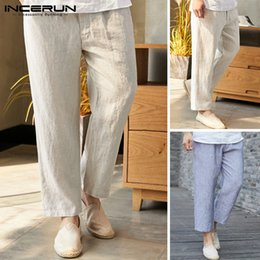 Wholesale wide trousers summer resale online – INCERUN New Men s Wide Leg Trousers Loose Summer Chinese Style Thin Section Cotton Casual Men s Large Size Beach Pants XL
