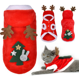 christmas clothes Australia - Christmas Cat Clothes Small Dogs Cats Santa Costume Kitten Puppy Outfit Hoodie Warm Pet Dog Clothes Clothing Accessories