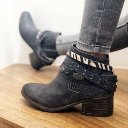 ankel heels NZ - 2019 New Ankel Boots Women Boots Female Winter with Belt Metal Nail Vintage Fashion Booties Plus Size Thick Heels Footwear