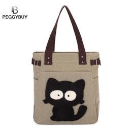 $enCountryForm.capitalKeyWord Australia - pb Peggybuy Women Cute Cat Pattern Shoulder Handbags New Canvas Large Capacity Totes Top-handle Shopping Bags Bolso de mujer