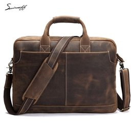 5a65ff66de Business Men s Genuine Leather Briefcase 17 Inch Big Fashion Handbag Cowhide  Briefcase Messenger Bags Men Laptop Handbag