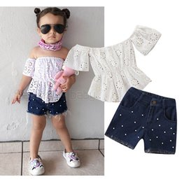 $enCountryForm.capitalKeyWord NZ - Ins kids designer clothes girls suits kids summer clothes girls outfits blouse+pearl Jeans shorts kids sets baby girls clothing A5798