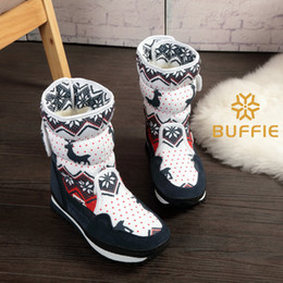 $enCountryForm.capitalKeyWord NZ - Women Winter Warm Boots Lady Snow Boots Navy Red Christmas Deer Brand Fashion Style Easy Wear Buckle Plus Parent-child