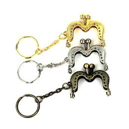 $enCountryForm.capitalKeyWord Australia - 20 Pcs lot 4 cm Bronze Silver Golden mini M shape metal purse frame Kiss clasp lock With key ring bag accessory 3 colors