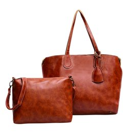Color Leather Bags Australia - good quality Women Bags Set 2 Pcs Oil Pu Leather Shoulder Bag Casual Messenger Bags Ladies Solid Color Crossbody Bag Handbags