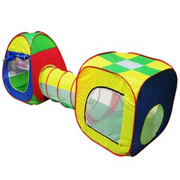 Kids Play Ball Tent Australia - 3pc Pop-up Tunnel Kids Play Tent Tunnel Kids Adventure House Toy Ball Pool Toys For Children