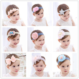 flower tiara for babies 2019 - Baby Headband Flowers Girls Pink Ribbon Hair Bands Handmade Headwear Hair Elastic Tiara For Girl Newborn Babies Accessor