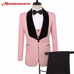 Wedding Vest Pink Australia - Tailor Suits Blazer Printed Groom Tuxedos Pink jacket for Groomsman Suit Wedding suit Custom Made Man Jacket+pants+vest