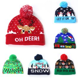 $enCountryForm.capitalKeyWord UK - Christmas LED Cosplay Hats Christmas tree deer snowman Santa Claus Crochet Hat Warm winter adults children light cap Xmas Supplies C783