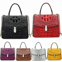 vintage crocodile clutches UK - Hot Vintage Classic WomenS Designer Luxury Crocodile Shoulder Bag Fashion High-End Bags Leather Clutch Bag Wallet Free Shipping#596