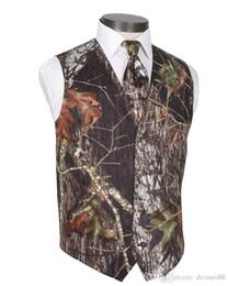 2019 Hombres Camo Impreso Novio Chalecos Chalecos de boda Realtree Spring Camouflage Slim Fit Chalecos para hombre Conjunto de 2 piezas (chaleco + corbata) Por encargo Tallas grandes en venta