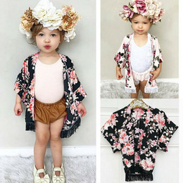 BaBies kimono online shopping - Hot Summer Boho Toddler Baby Girls Kids Children Chiffon Floral Tassel Cover Cardigan Kimono Outfits Coat Colors