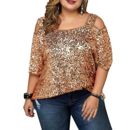 4xl women clothes NZ - Plus Size Sequin Women Tops Slash Neck Sexy T-shirts Summer Outfit Party Club Maxi Clothing Short Sleeve New Top 2020 XL-4XL
