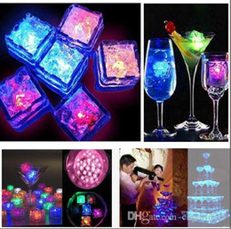 Glow Party Decorations Australia - Square led ice cubes 7 color changing Light up LED Ice Cubes Glow Ice Cubes for wedding decoration novelty party festivities Beer glass