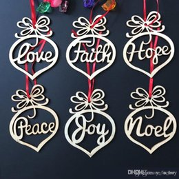 Wooden Christmas Ornament Patterns Australia - Christmas letter wood Heart Bubble pattern Ornament Christmas Tree Decorations Home Festival Outdoor Ornaments Hanging Gift 6 pcs per bag