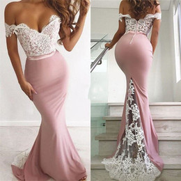 Black evening dresses for ladies online shopping - Hot Sale Lace Matte Off Shoulder Mermaid Prom Evening Dress High Waist Buttons Back Prom Lady Maxi Gowns for Bridesmaid Wear Gown