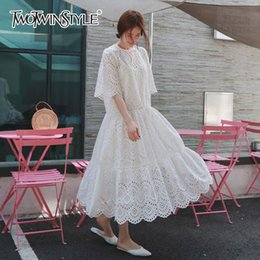 $enCountryForm.capitalKeyWord Australia - Twotwinstyle Hollow Out Dress Summer Oversize Big Hem Elegant Beach Dress Female With Spaghetti Strap Dresses 2018 Sweet Clothes GMX190708