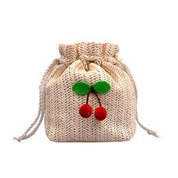 Linen String UK - Sakura Woven Ladies Shoulder Bag 2019 New European and American Straw Single Shoulder Messenger Bag Simple Summer Small Bag