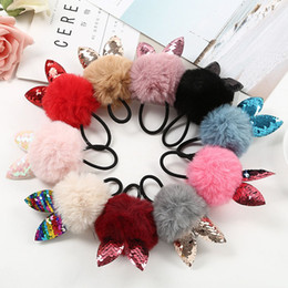 Rabbit Hair Ponytail Australia - 1PC Fake Rabbit Fur Ball Elastic Hair Band Girls Children Cat Ear Hair Rope styling tools Ponytail Scrunchie braiders