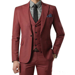 Peaked Lapel Suit NZ - New New Arrival Red Wine Business Peaked Lapel Mens Suits for Wedding Three Piece Burgundy prom Jacket Pants Vest Smart Casual Custom Slim 4