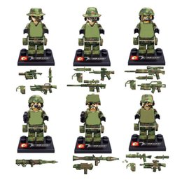 Military Figures Australia - 6pcs set Military Camouflage Soldiers Army Guard Building Blocks Bricks Figures Models Toys Children Gift Toys