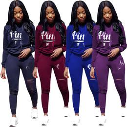 Discount ladies tracksuits - Women Hollow Out Sport Tracksuit Hoodies Top + Pants 2 Piece Woman Set Outfit Womens Ladies Sweatsuits Tracksuits Clothe