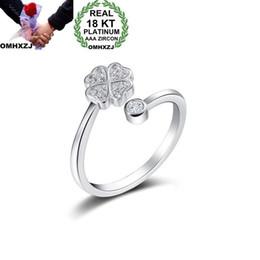 $enCountryForm.capitalKeyWord Australia - OMHXZJ Wholesale European Fashion Woman Girl Party Wedding Gift Leaves White Open Zircon 18KT White Gold Ring RR708
