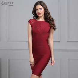 $enCountryForm.capitalKeyWord Australia - 2019 Summer Wine Red Bandage Dress Women Black O Neck Short Sleeve Mesh Runway Club Dress Celebrity Evening Party Dress Vestidos Y19050905