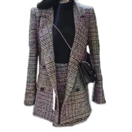 China Plaid Office Lady Jacket Skirt Two Sets Elegant Formal Warm Coat Jacket Top With Skirt Suit Winter Autumn Women's Suit GRNSHTS cheap women formal suit long skirt suppliers