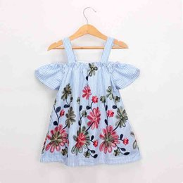 $enCountryForm.capitalKeyWord Australia - Everweekend Sweet Girls Floral Embroidered Stripes Summer Dress Sundress Halter Candy Blue Color Cute Children Dresses