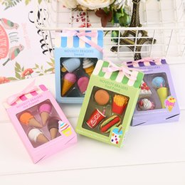 wholesale children stationery set Australia - Creative Cute ice Cream Cake Eraser Drink Coke Erasers Set Children Stationery School Office Erase Supplies Kids prize Gifts