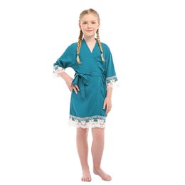 $enCountryForm.capitalKeyWord Australia - Summer NEW Little Girls Robe Kimono Bathrobe Children Cotton Sleepwear Lace Trim Nightgown Home Dressing Gown Nightdress