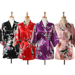 japanese kimono nightgown UK - Lace Up Woman Peacock Print Japanese Kimono Yukata Silk Satin Short Style Sleepwear Home Nightgown Bath Robe Costume