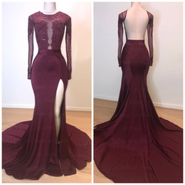 Gold paGeant dresses slit online shopping - 2019 Custom Prom Dresses Jewel Slit Mermaid Burgundy Lace Appliques Beaded Long Sleeves Backless Evening Dress Party Pageant Formal Gowns