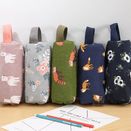 novelty stationery for kids Australia - Novelty Raccoon Alpaca Canvas Pencil Case Stationery Kids School Pencil Cases Boys Girls Bag for School Supplies