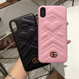 $enCountryForm.capitalKeyWord Australia - Top Luxury Leather Back Case For iPhone X XS Max XR 8 7 6 6S Plus Fashion Design Love Heart Back Cover For Samsung S9 S8 Note 9 Note 8