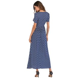 Dot Line Dress Australia - Dot Dress Women Maxi Long Dress Elegant Lady Summer Dresses 2019 Short Sleeve High Waist A-line Dress Plus Size designer clothes