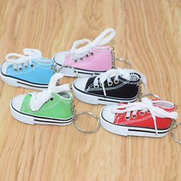 $enCountryForm.capitalKeyWord Australia - 12 Colors 3D Novelty Canvas Sneaker Tennis Shoe Keychain Key Ring Shoes Key Chain Holder Handbag Pendant Favors free shipping