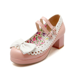 Japanese style shoes women online shopping - Japanese Style PU Leather Square Heel Lace amp Bowtie Sweet Lolita Cosplay Mary Jane Shoes