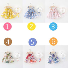 Wholesale BNWIGE Baby Girls summer Dress With Hat Set Cotton Print Floral Sleeveless Baby Girl Clothes Birthday Party Princess Dress Vestido
