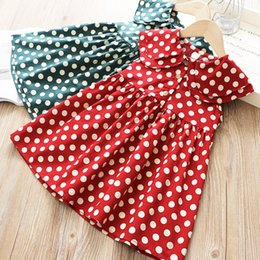 Wholesale Baby girl dresses Summer Korean polka dot sleeveless ruffle princess dress kids designer clothes girls Turn down Collar casual luxury dress