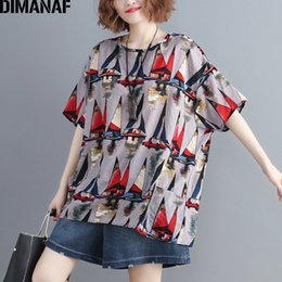 Basic Casual Loose Tees Australia - Dimanaf Plus Size Women T-shirts Basic Lady Tunic Tops Fashion Print Tees Cotton Linen Female Clothes Big Size Loose 2019 Summer Y19042501