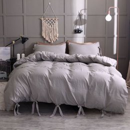 Discount grey red bedding sets - Washed Polyester Cotton Product Solid Color 2 3Pcs Bedding Set Microfiber Bedclothes White Grey Black Bed Linens Duvet C