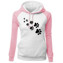 wholesale paw print Australia - Harajuku 2018 Autumn Winter Woman Sweatshirt Print CAT PAWS Cartoon Kawaii Kpop Clothing Streetwear Hoodies Sweatshirts Bts Blusa Feminina
