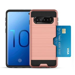 Free Cellphone Cases Australia - For Samsung S10 S10 lite S10 Plus TPU Dual layer brushed credit card slot cellphone case with retail package and free shipping