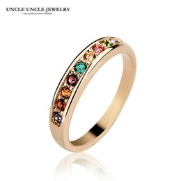 18krgp Rose Gold Canada - Simple Style Rose Gold Color Multicolor Rhinestones Studded Classic Women Fashion Knuckle Ring Wholesale Jewelry 18krgp stamp